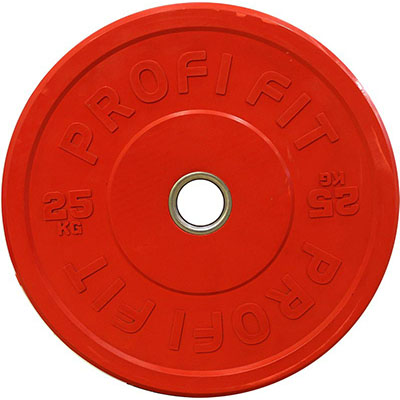 Диск для штанги каучуковый, красный, PROFI-FIT D-51, 25 кг